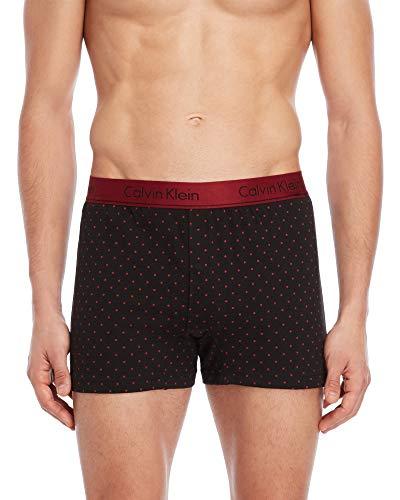 Calvin Klein Men`s Cotton Slim Fit Knit Boxer 1 Pack (Red Dots(NB1525-037)/Black, Large) (Dot Boxer)