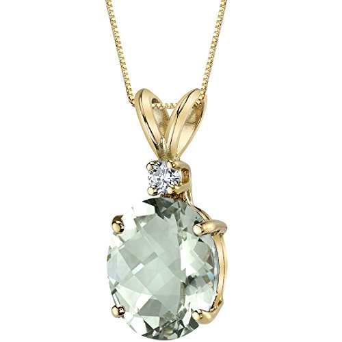 Green Amethyst Diamond Pendant (14 Kt Yellow Gold Oval Shape 2.25 Carats Green Amethyst Diamond Pendant)