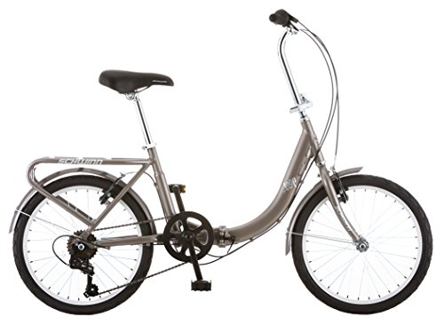 Schwinn Loop Adult Folding Bicycle, 20-Inch Wheels, 7-Speed, Silver