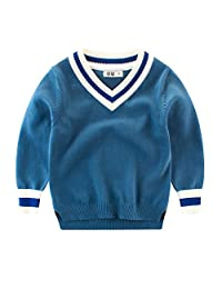 Boys Pullover Sweater V Neck Knit Jumpers Sweatshirt for Kids 2-8Y