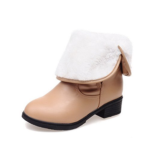 AllhqFashion Womens Soft Material Pull-on Round Closed Toe Low Heels Low-top Boots Apricot spivhM4mL