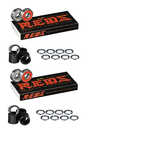 Axle Ball Bearing (Bones Bearings Reds Bearings (2) 8 Packs W/Spacers and Washers)