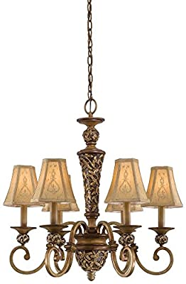 Minka Lavery 1556-477 Salon Grand - Six Light Chandelier, Florence Patina Finish with Embroidered Faux Fabric Shade