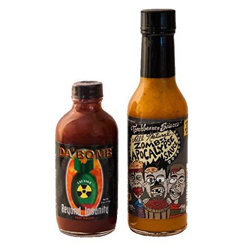 Da Bomb Beyond Insanity Hot Sauce and Zombie Apocalypse Hot Sauce Bundle | Da Bomb Habanero Hot Sauce 4 oz | Zombie Apocalypse Hot Sauce | Hot Pepper Sauce | Great For Hot Sauce Lovers