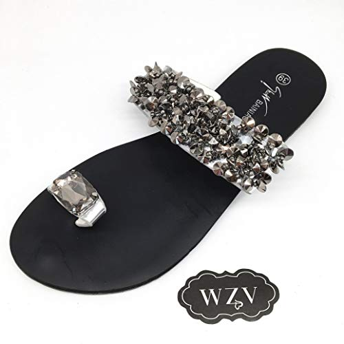 Woman's Jeweled Flat Sandals Toe Ring Rhinestone Bling Sequins Non-Slip Sole Comfy Wide Width Slide Sandals Silver