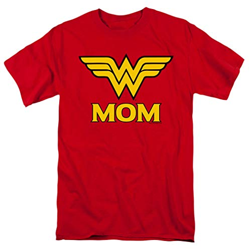 Wonder Woman Wonder Mom DC Comics T Shirt & Exclusive Stickers (Medium) Red -