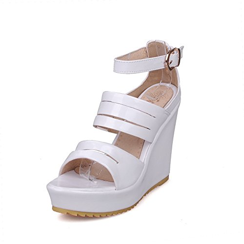 AmoonyFashion Womens PU High-Heels Open Toe Solid Buckle Platforms & Wedges White fwK72HK9