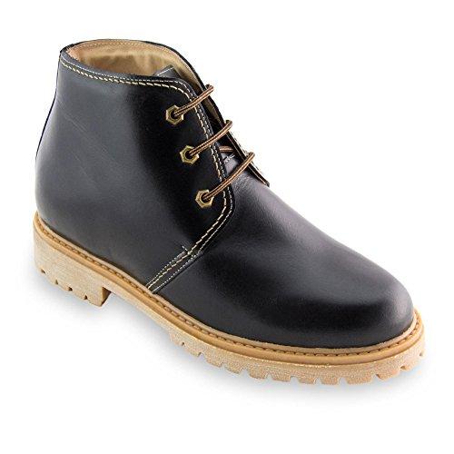 EN Que Alzas Modelo Zapatos Hasta Fabricados Negro 7 Piel cm Altura de Aumentan Bergen con Masaltos Hombre f6X7qII