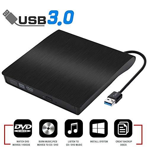 External CD Drive, USB 3.0 Portable CD/DVD +/-RW Drive Slim DVD/CD ROM Rewriter Burner Writer High Speed Data Transfer for Laptop Desktop PC Linux MacOS Windows XP /2003/Vista/Win 7/ Win 8/Win 10