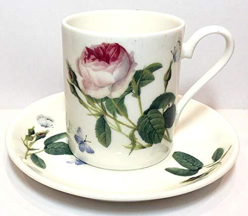 Roy Kirkham England Fine Bone China Palace Garden Rose Cup and Saucer Set   Demitasse Size 6 oz. Cup