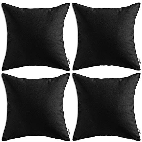 MIULEE Pack of 4 Decorative Outdoor Waterproof Pillow Cover Square Garden Cushion Case PU Coating Throw Pillow Cover Shell for Tent Park Couch 18x18 Inch Black ()