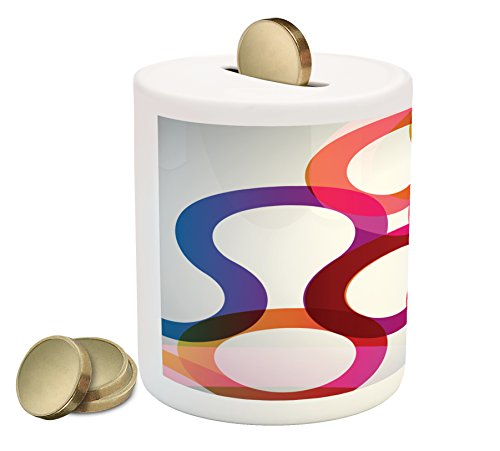 Vivid Curves (Abstract Piggy Bank by Lunarable, Composition with Curves Vivid Colorful Twisted Forms Overlaps Modern Art Elements, Printed Ceramic Coin Bank Money Box for Cash Saving, Multicolor)