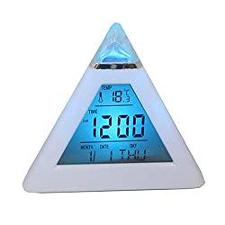 Jackie 7 LED Color Changing Digital LCD Alarm Clock Display Thermometer Date Time Night Light Desktop Table Clocks (White)