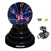 RioRand Plasma Ball Lamp Light [Touch Sensitive] Nebula Sphere Globe Novelty Toy - USB or Battery Powered