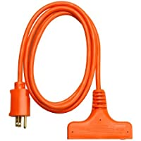 Coleman Cable 04004 6-Feet 14/3-Wire Gauge SJTW Tri-Source Extension Cord, Orange by Coleman Cable