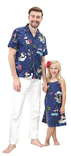 Matching Father Daughter Hawaiian Luau Outfit Christmas Men Shirt Girl Dress Navy Santa Flamingo -