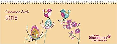2018 Cinnamon Aitch Desk Calendar - GreenLine Calendar - 29.7 x 10.5 cm