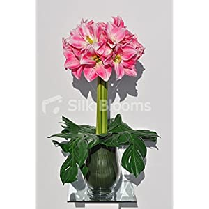 Gorgeous Tall Artificial Pink and White Amaryllis Floral Table Display 59