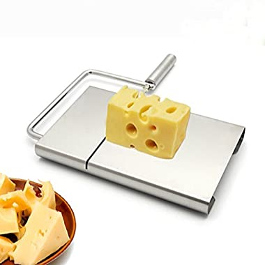 [Christmas Deals of the Day]IBEET Cheese Butter Slicer Stainless Steel Cutting Board with Replacement Wire Set