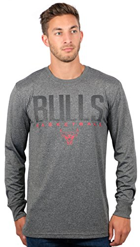 Bulls T-shirts Chicago Mens (Chicago Bulls Men's T-Shirt Athletic Quick Dry Long Sleeve Tee Shirt, Large, Charcoal)