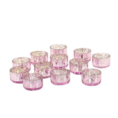 Koyal Wholesale Mercury Tealight Candle Holders, 12-Pack Set, Petite Aged Vintage Glass Candle Containers for Tea Light Candles, Battery Operated Tealight Candles, Tealight Votives (Pink) -