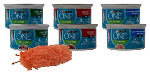 (One by Purina Premium Grain Free Wet Cat Food Pate 3 Flavor 6 Can with Catnip Toy Sampler Bundle, 2 Each: Turkey, Beef, Ocean Whitefish (3 Ounces))