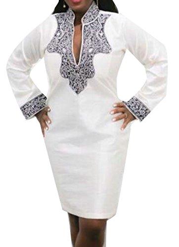 Bodycon In A Con Scollo Cromoncent Camicetta Allentata Abito Etnica Donne Forma Lunga Bianco Camicia Manica V x8w1XAqR