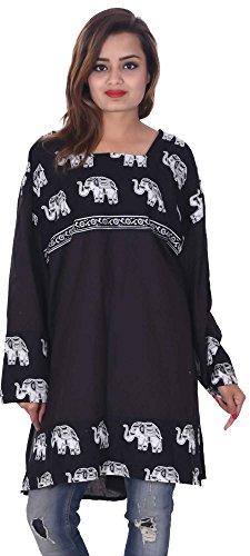 Indian-100-Cotton-Black-Color-Top-Kurta-Women-Ethnic-Tunic-Kurti-plus-size-Elephant-Print