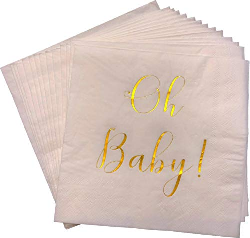 Baby Shower Napkins - 100 Pack White Disposable Paper Cocktail Napkins with Gold Foil