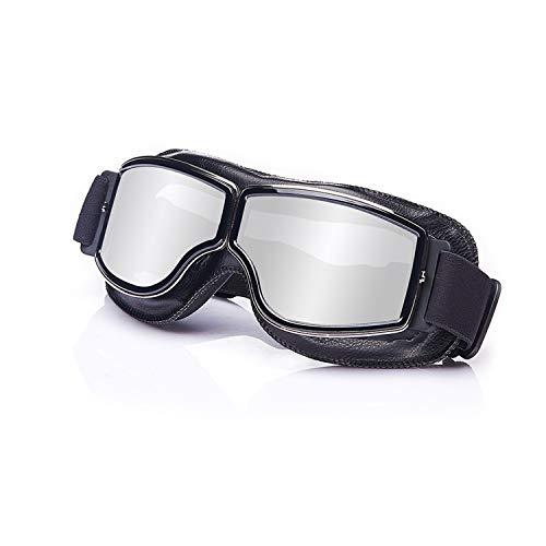 Galatée Motorradbrille Ski Motorrad Roller Brille Retro Fliegerbrille Helmbrille Winddichte Sonnenbrille (Schwarze…