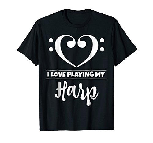 Double Bass Clef Heart I Love Playing My Harp Music Lover T-Shirt