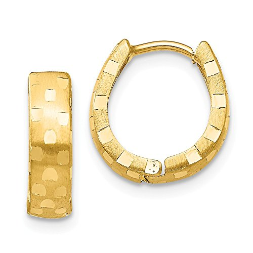 - 14k Yellow Gold 4mm Patterned Hinged Hoop Earrings Ear Hoops Set Fine Jewelry Gifts For Women For Her