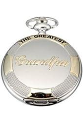 Hydia Pocket Watch THE GREATEST Grandpa Silver Golden Pocket Quartz Watch Chain Full Hunter