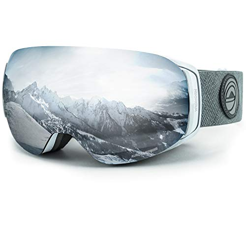 (WildHorn Outfitters Roca Ski Goggles & Snowboard Goggles- Premium Snow Goggles for Men, Women and Kids. Features Quick Change Magnetic Lens System with Integrated Clip Lock.)