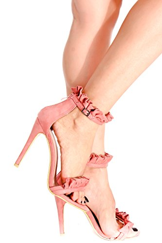 Lolli Couture Suede Open Toe Ruffled Accent Back Cremallera Single Sole High Heel Pinkblushvvsuede