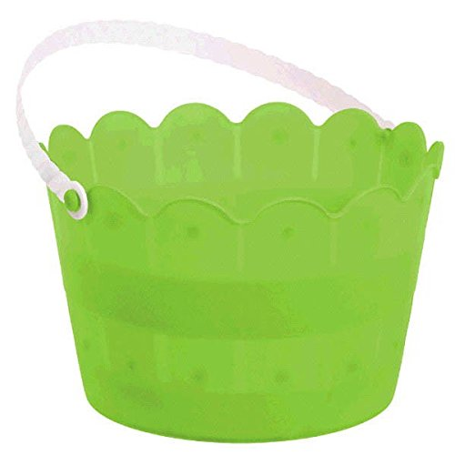 Egg-stra Special Easter Party Scalloped Weave Bucket Favour, Kiwi green, Plastic, 6