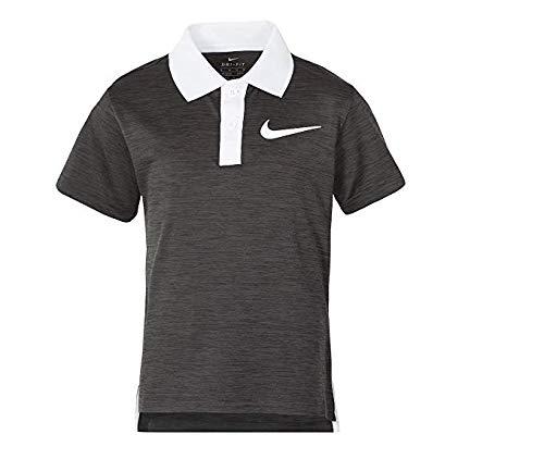 NIKE Little Boys' Short Sleeve Polo Shirt (Black Heather (76C217-K08)/White/White, 4)