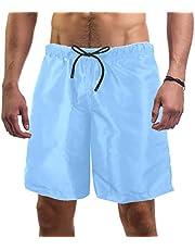 Pure Light Blue Sky Color Pattern Swim Shorts for Men Swim Trunks Men's Bathing Suits Swimwear with Mesh Lining