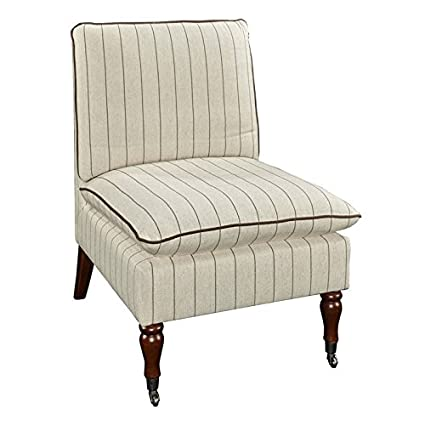 Linon Parker Stripe Pillow Top Slipper Chair