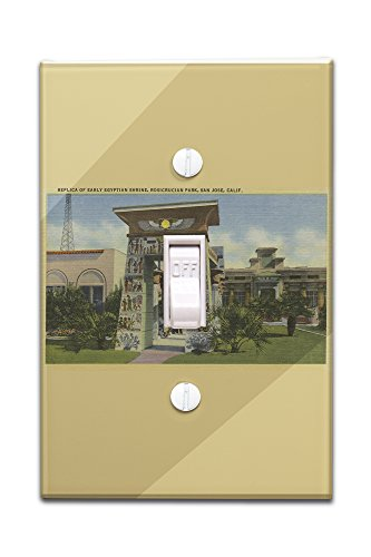 San Jose, CA - Replica of Egyptian Shrine, Rosicrucian Park (Light Switchplate Cover) - Egyptian Shrine