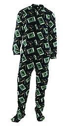 Club Room Mens Full Zipper Football Print Footed Pajamas Navy M