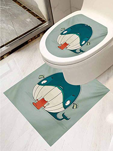 (AuraiseHome Whale Decal Wall Art Decor Bathroom Sticker 2-Piece Suit Greedy Little Cat Sitting Down to Dine on A Huge Fish Dinner of Whale Cartoon Removable Sticker Almond Green Teal)