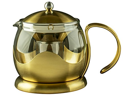 Curved Teapot - La Cafetiere Edited Le Curved Teapot with Infuser in Brushed Gold 25floz