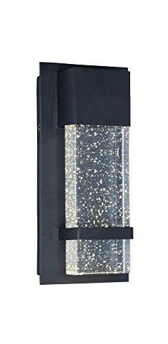Maxim 55912bgbk cascada LED de pared para exteriores, acabado negro, vidrio de burbujas, PCB foco LED, 26W Max.,...