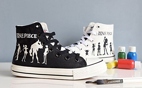 and painted Cosplay Anime White Shoes Luffy Shoes White Sneakers Hand Canvas One Black Black Shoes Piece and qz47w7xT