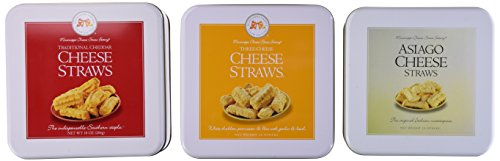 Asiago Cheese Straws - Mississippi Cheese Straw Factory Three Gift Tin Cheese Straw Assortment: Traditional Cheddar, Three-Cheese and Asiago, 30oz