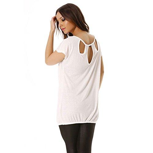 Miss Wear Line - Top blanc avec motif en strass et encolure dans le dos