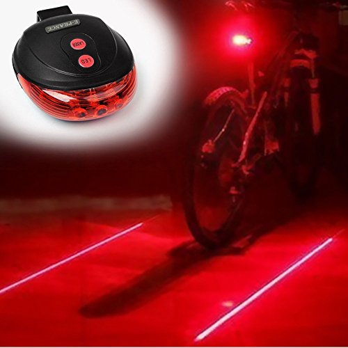 FREETOO® New Bicycle Cycling Laser Tail Light Water Resistant 2 Laser 5 LEDs 7 Modes Mountain Bike Safety warning Back Rear Led Red Light Flashlight Lamp (red2)