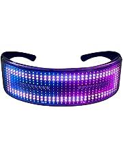 Queenser Óculos de festa de LED BT Controle de APP Óculos de luz LED piscando Óculos luminosos com USB recarregável Animação DIY para boate de festa de aniversário de Natal