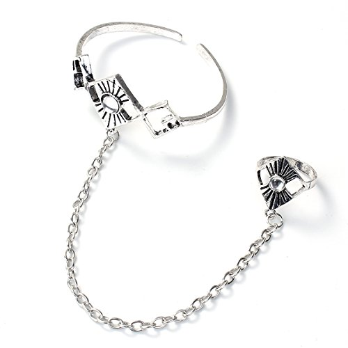 Sexy Sparkles Retro Bracelet Finger Ring Bangle Slave Chain (Style:H)